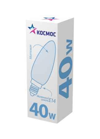 Купить КОСМОС 40 Ватт свеча матовая Е14