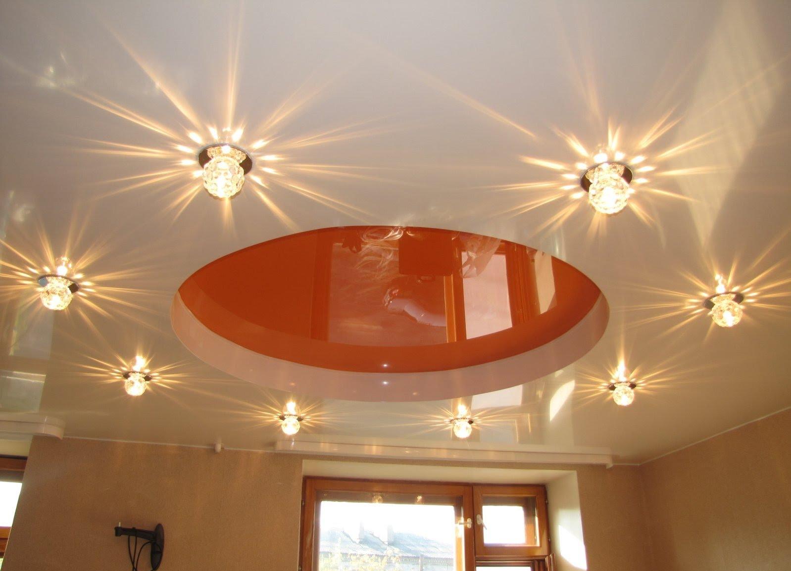 Монтаж светильников в натяжном потолке