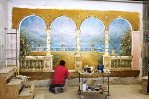 приклеивание фрески